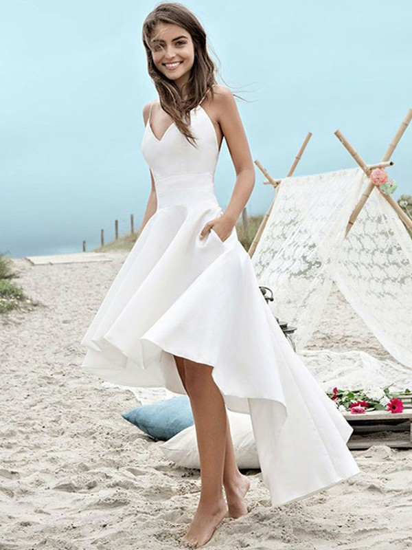 A-Line/Princess Sleeveless Spaghetti Straps Satin Ruched Asymmetrical Wedding Dresses