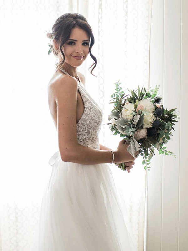 A-Line/Princess Sleeveless Halter Floor-Length Lace Tulle Wedding Dresses