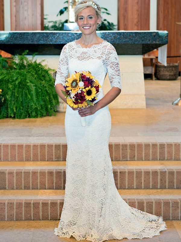 Sheath/Column Scoop 1/2 Sleeves Sweep/Brush Train Lace Ruched Wedding Dresses