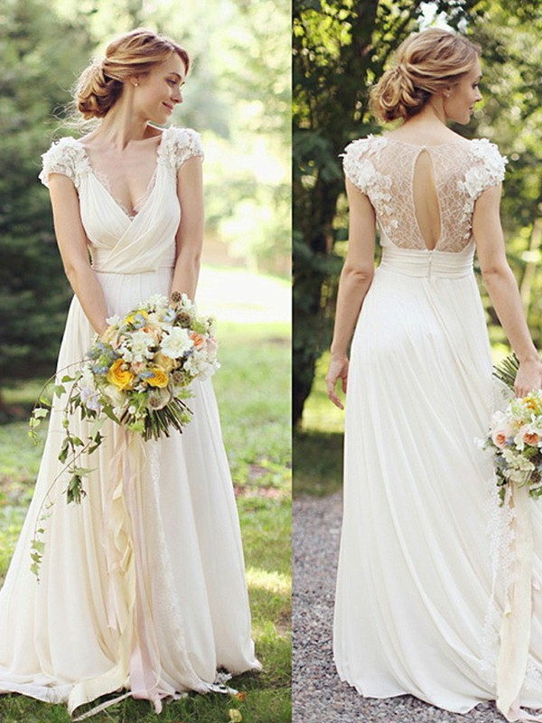 A-Line/Princess Chiffon V-neck Short Sleeves Sweep/Brush Train Ruched Wedding Dresses