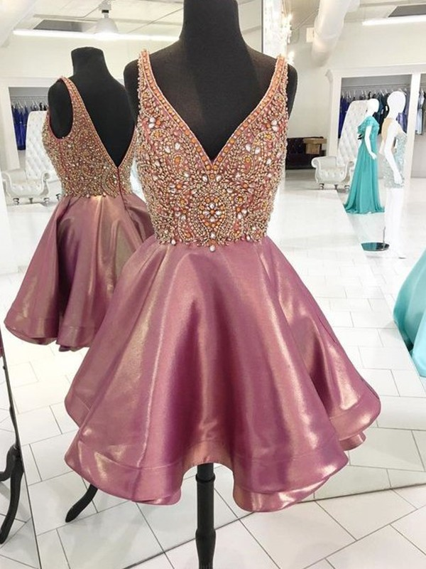A-Line V-neck Satin Beading Short Dresses