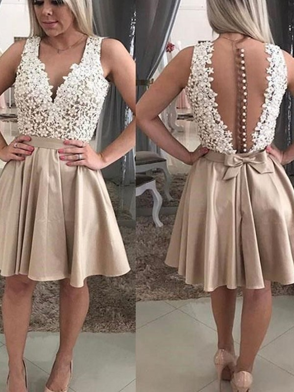 A-Line V-neck Beading Satin Short Dresses