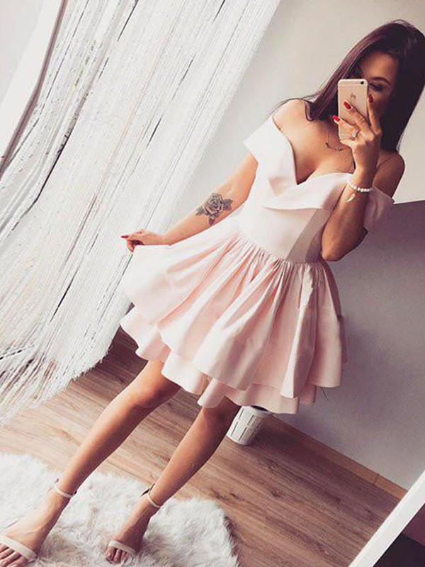 A-Line Off-the-Shoulder Satin Short Dresses