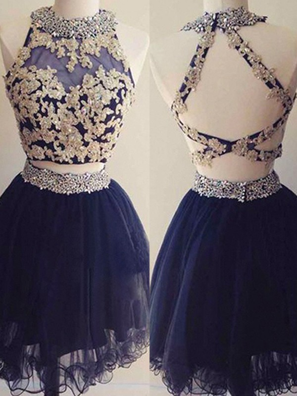 A-Line Halter Tulle Beading Short Two Piece Dresses