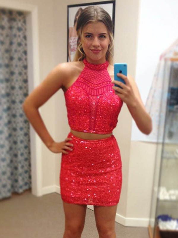 Sheath Halter Sequin Beading Short Two Piece Dresses