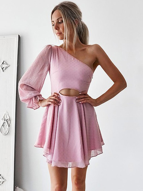 A-Line Chiffon One-Shoulder Ruffles Short Dresses