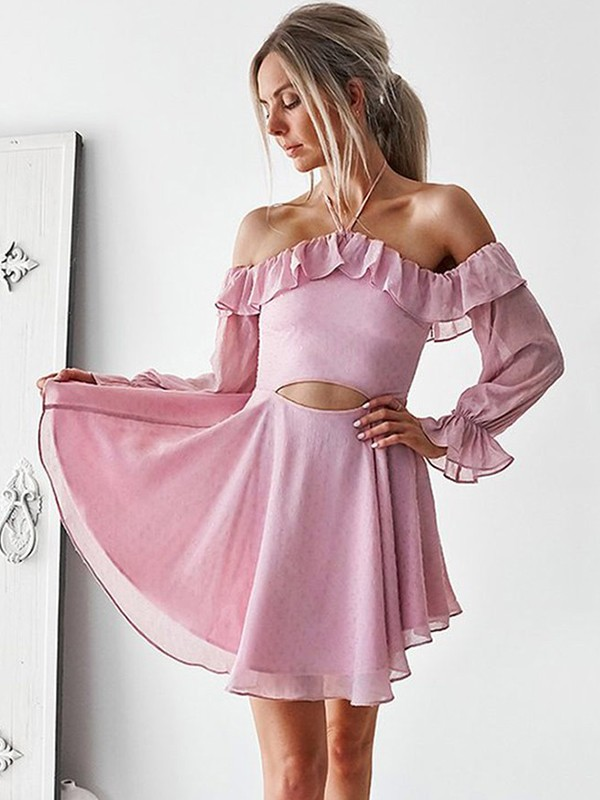 A-Line Ruffles Off-the-Shoulder Chiffon Short Dresses