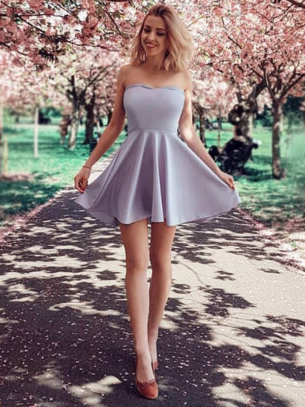 A-Line Ruffles Strapless Satin Short Dresses