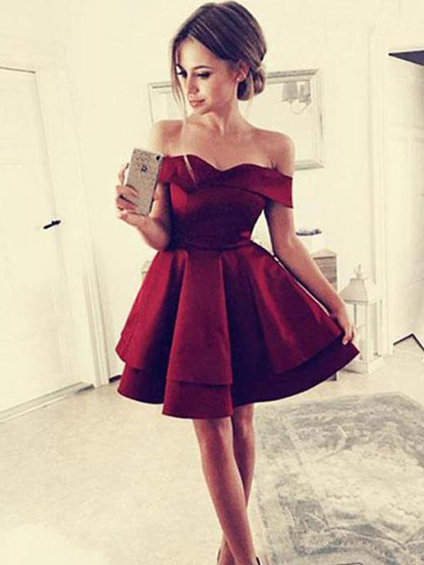 A-Line Off-the-Shoulder Ruffles Satin Sleeveless Short/Mini Dresses