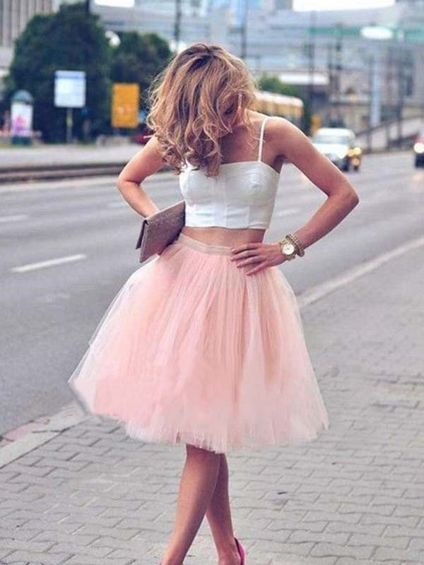 A-Line Tulle Sleeveless Pleats Spaghetti Straps Knee-Length Two Piece Dresses