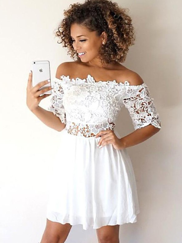 A-Line Chiffon Off-the-Shoulder Applique 1/2 Sleeves Short/Mini Dresses