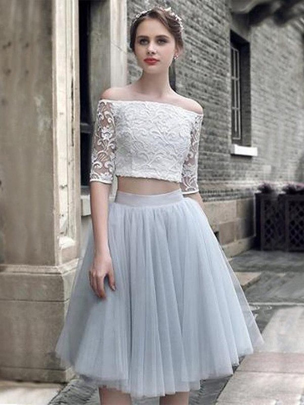 A-Line Tulle 1/2 Sleeves Ruched Off-the-Shoulder Knee-Length Two Piece Dresses