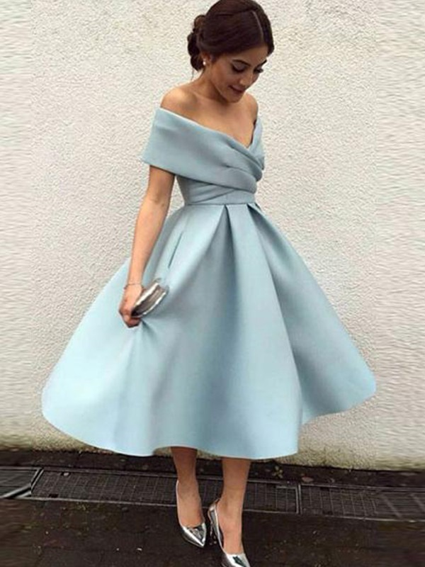 A-Line Off-the-Shoulder Satin Sleeveless Ruffles Tea-Length Dresses