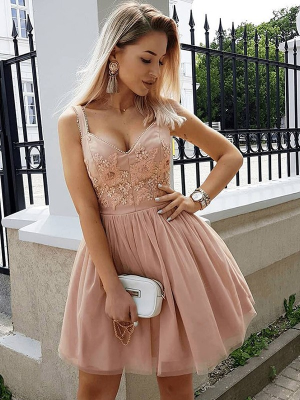 A-Line Straps Tulle Beading Sleeveless Short/Mini Dresses