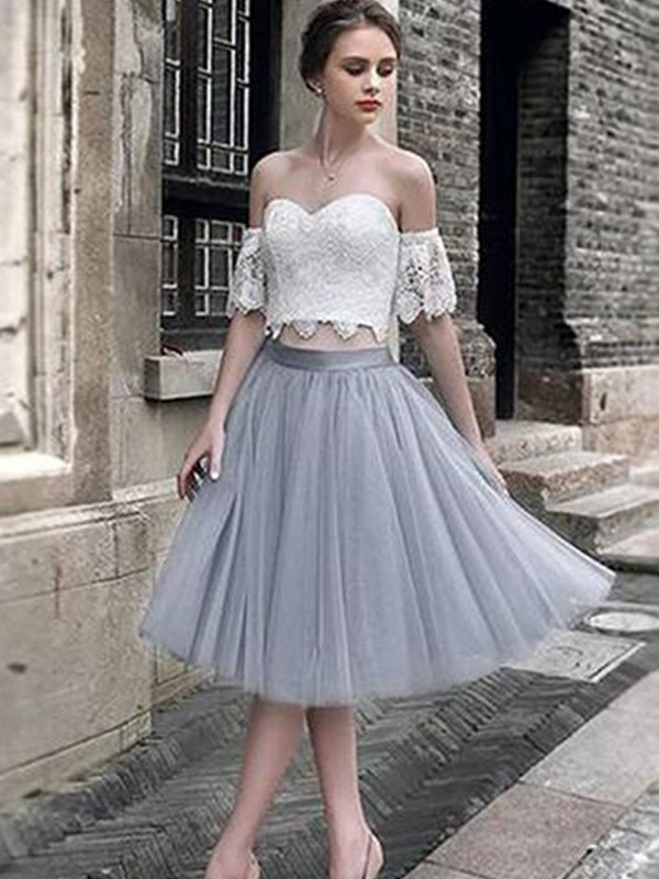 A-Line Sweetheart Tulle Lace Sleeveless Tea-Length Two Piece Dresses
