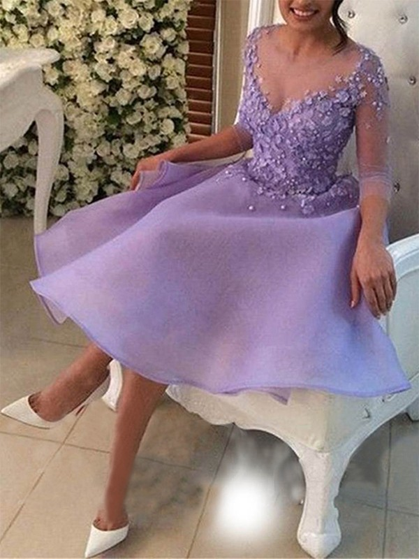 A-Line/Princess Knee-Length V-neck 3/4 Sleeves Organza Dresses