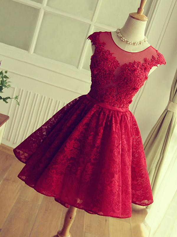 A-Line/Princess Sleeveless Jewel Short/Mini Lace Dresses