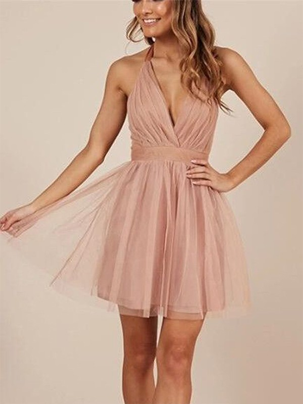 A-Line Halter Tulle Sleeveless Ruffles Short/Mini Dresses