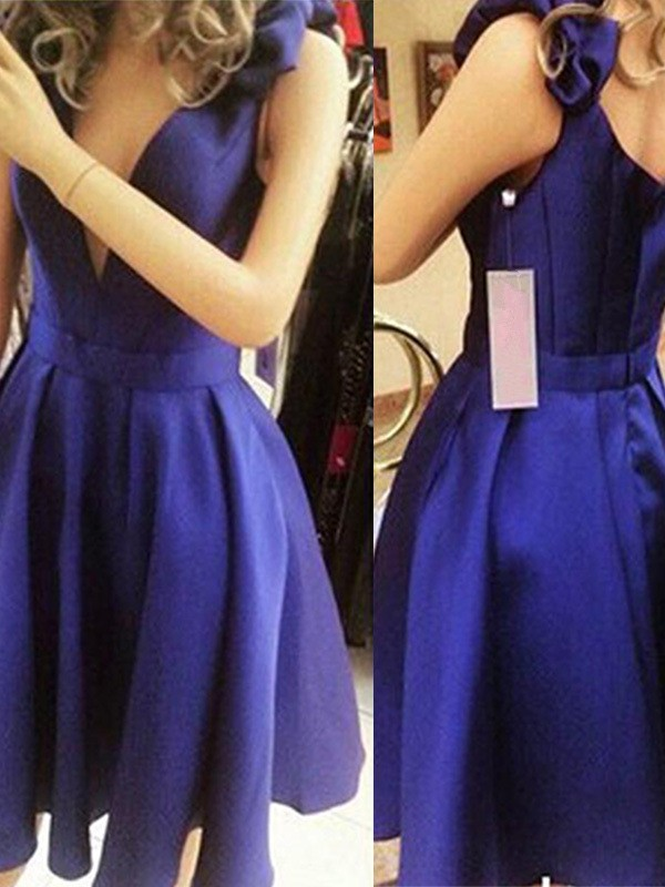A-Line Bowknot Sleeveless Straps Satin Short/Mini Dresses