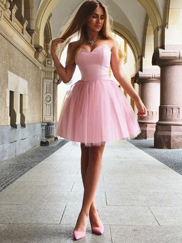 A-Line Sweetheart Ruffles Sleeveless Satin Short/Mini Dresses