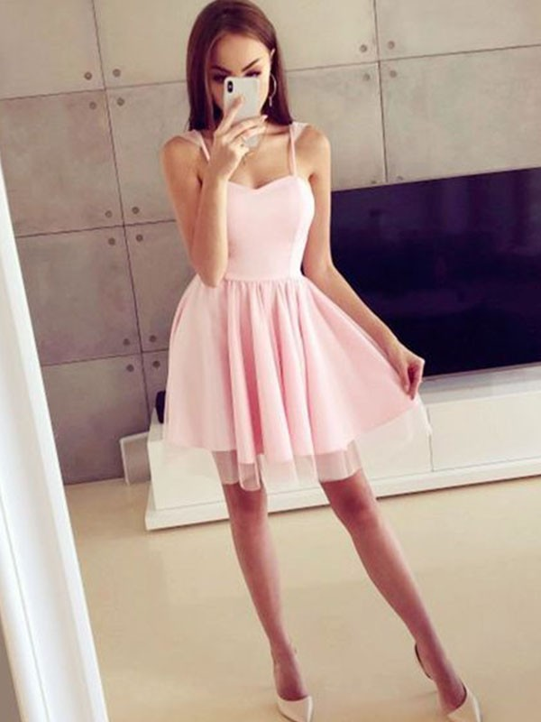 A-Line Spaghetti Straps Satin Ruched Sleeveless Short/Mini Dresses