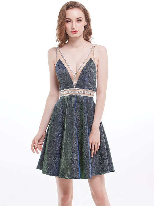 Short/Mini A-Line/Princess V-neck Sleeveless Sequins Dresses