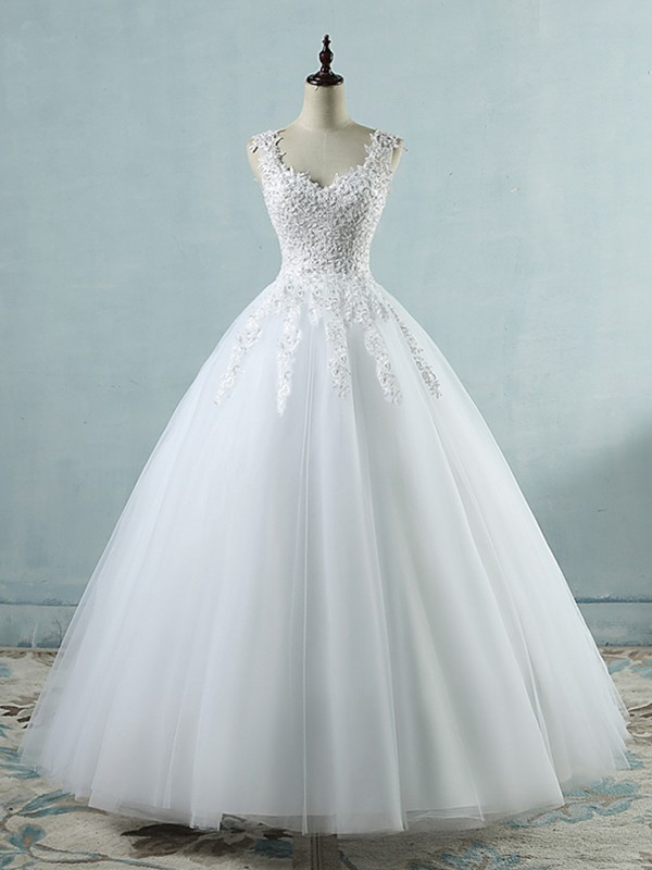 Floor-Length Ball Gown Sweetheart Sleeveless Tulle Wedding Dresses