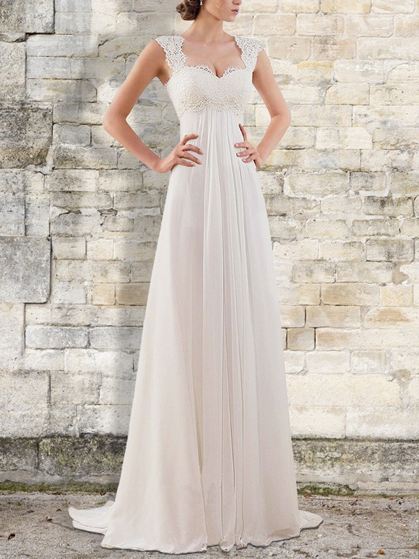 Sweep/Brush Train A-Line/Princess Bateau Sleeveless Chiffon Wedding Dresses
