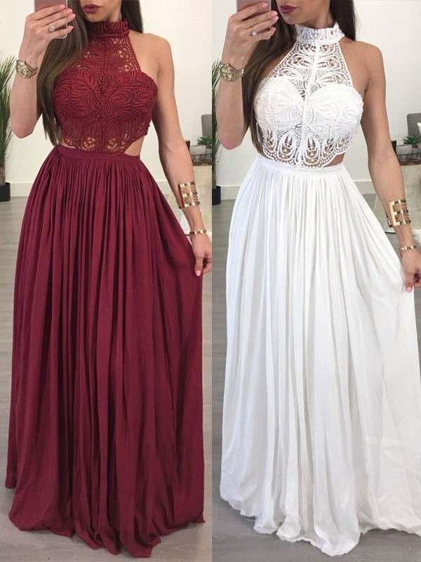 A-Line/Princess Halter Sleeveless Chiffon Lace Floor-Length Dresses