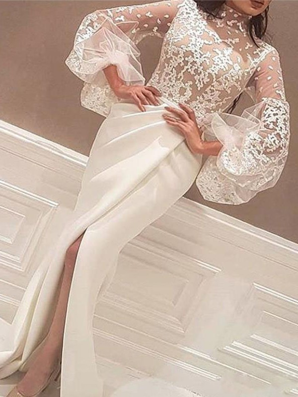 Trumpet/Mermaid High Neck Lace Long Sleeves Sweep/Brush Train Satin Dresses