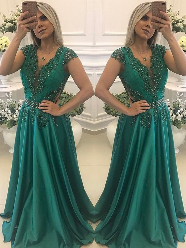 A-Line/Princess V-neck Short Sleeves Beading Silk like Satin Floor-Length Dresses