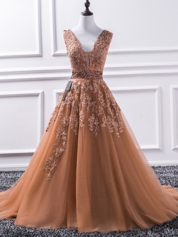 A-Line/Princess V-neck Sleeveless Tulle Sweep/Brush Train Applique Dresses