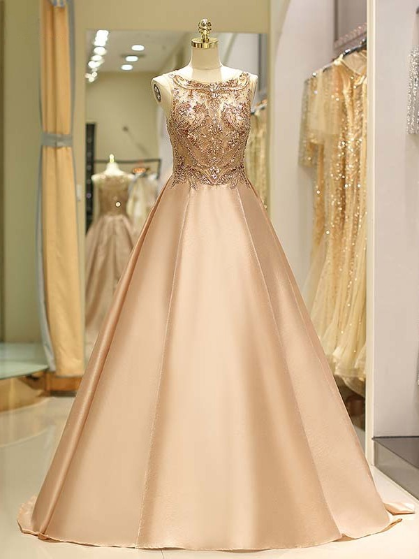 Ball Gown Bateau Sleeveless Satin Sweep/Brush Train Beading Dresses