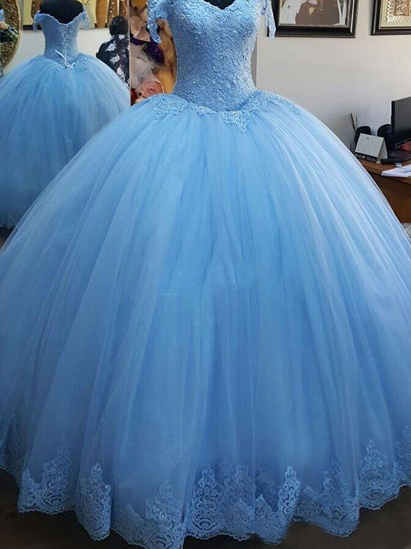 Ball Gown Off-the-Shoulder Sleeveless Tulle Sweep/Brush Train Lace Dresses