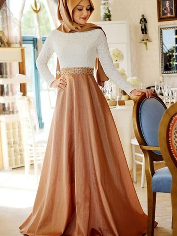 A-Line/Princess Scoop Long Sleeves Sweep/Brush Train Lace Satin Muslim Dresses