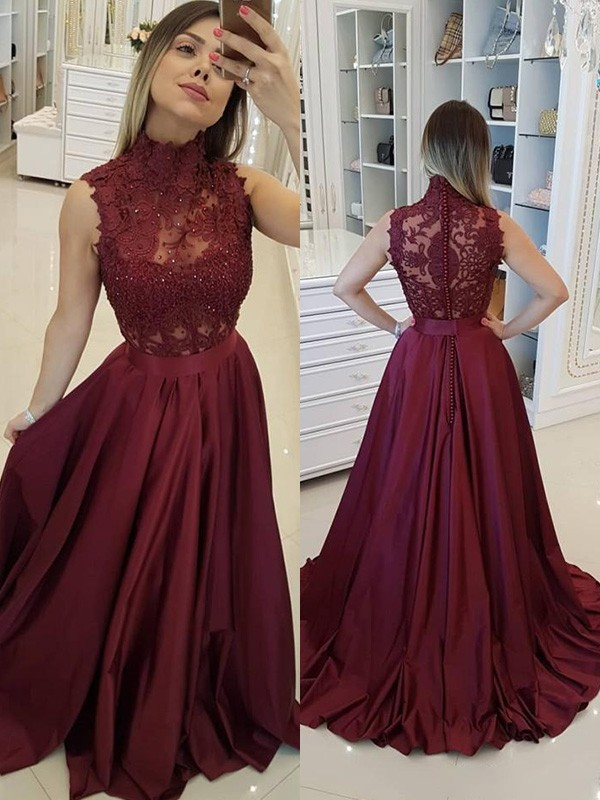 A-Line/Princess High Neck Sleeveless Satin Sweep/Brush Train Applique Dresses