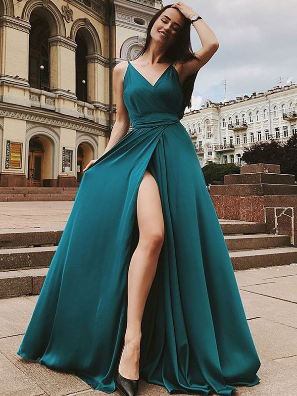 A-Line/Princess Straps Sleeveless Ruffles Sweep/Brush Train Satin Chiffon Dresses