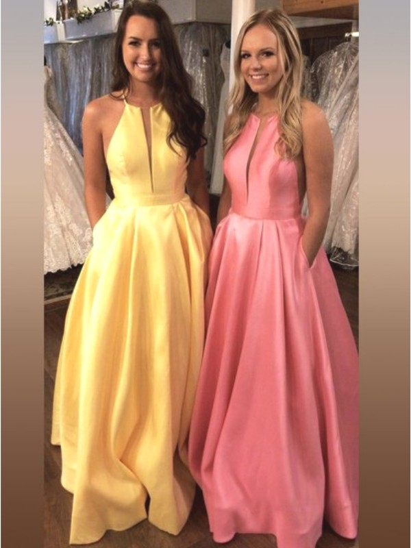 A-Line/Princess Halter Sleeveless Sweep/Brush Train Ruffles Satin Dresses