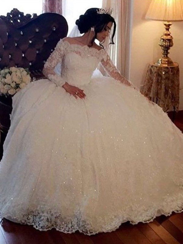 Ball Gown Bateau Long Sleeves Lace Floor-Length Wedding Dresses