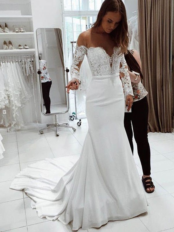 Trumpet/Mermaid Off-the-Shoulder Long Sleeves Lace Chiffon Court Train Wedding Dresses