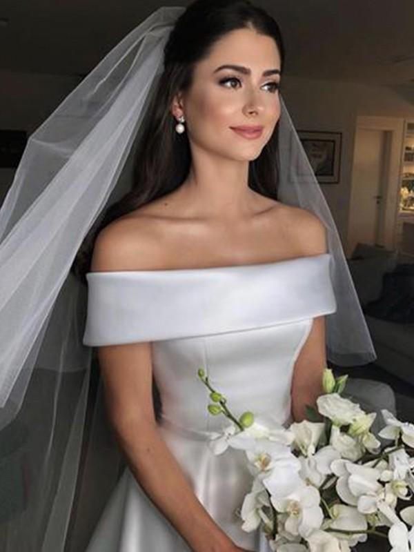 A-Line/Princess Off-the-Shoulder Sleeveless Ruffles Satin Sweep/Brush Train Wedding Dresses