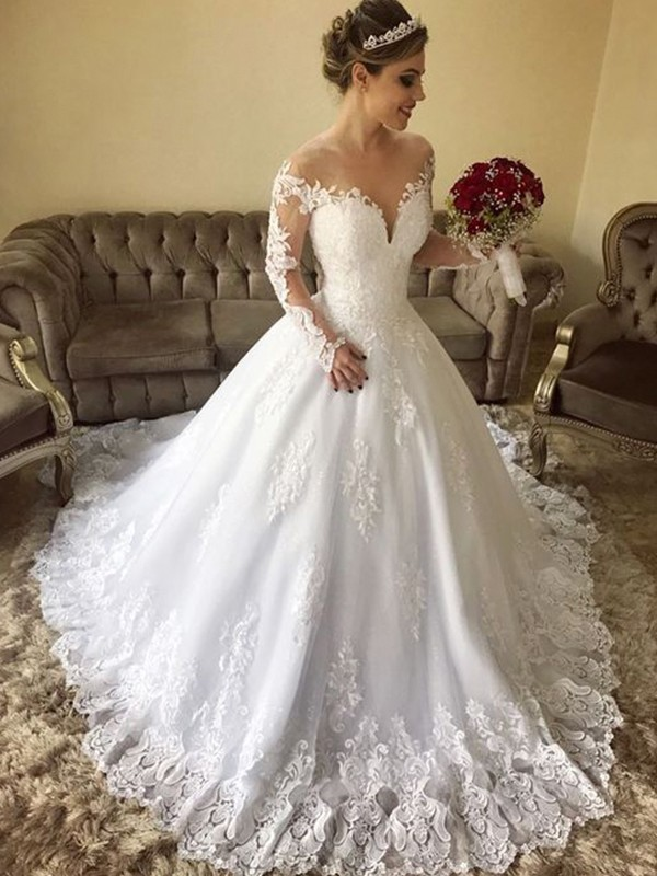 Ball Gown Off-the-Shoulder Long Sleeves Lace Tulle Sweep/Brush Train Wedding Dresses