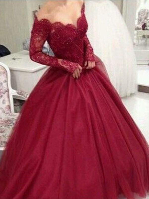 Ball Gown V-neck Long Sleeves Lace Tulle Floor-Length Dresses