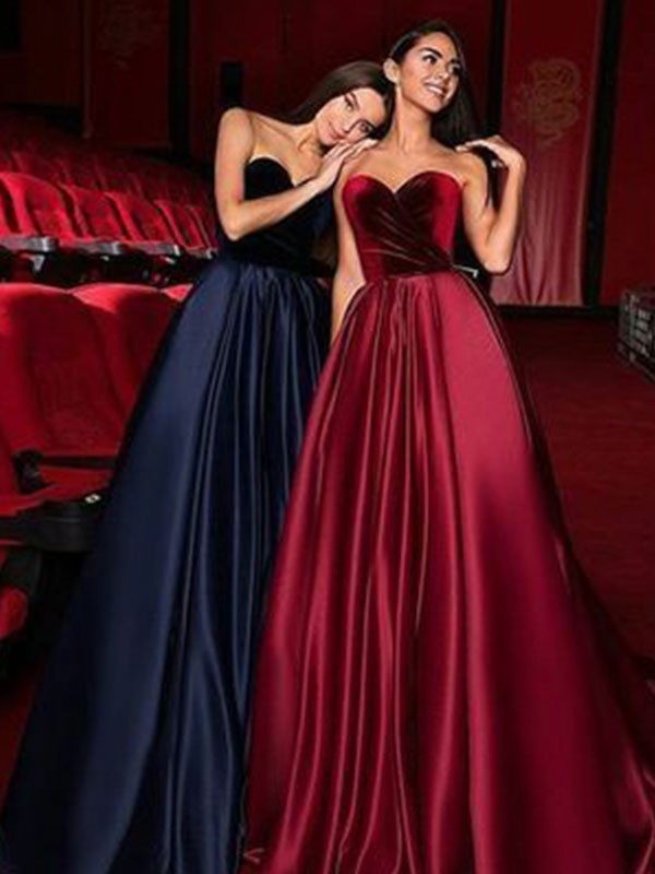 A-Line/Princess Sweetheart Sleeveless Court Train Ruffles Satin Dresses