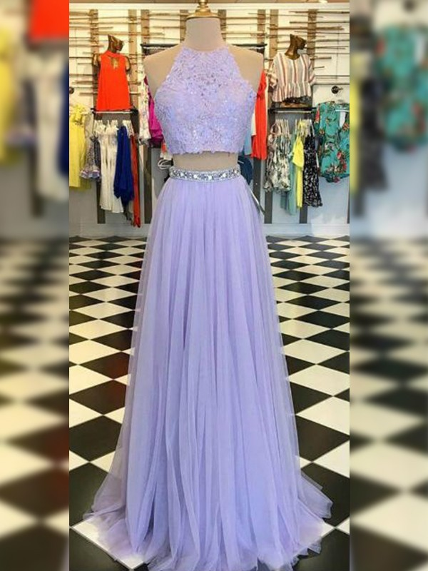 A-Line/Princess Halter Sleeveless Tulle Lace Sweep/Brush Train Two Piece Dresses