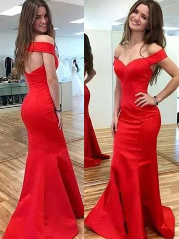 Trumpet/Mermaid Off-the-Shoulder Sleeveless Floor-Length Satin Dresses