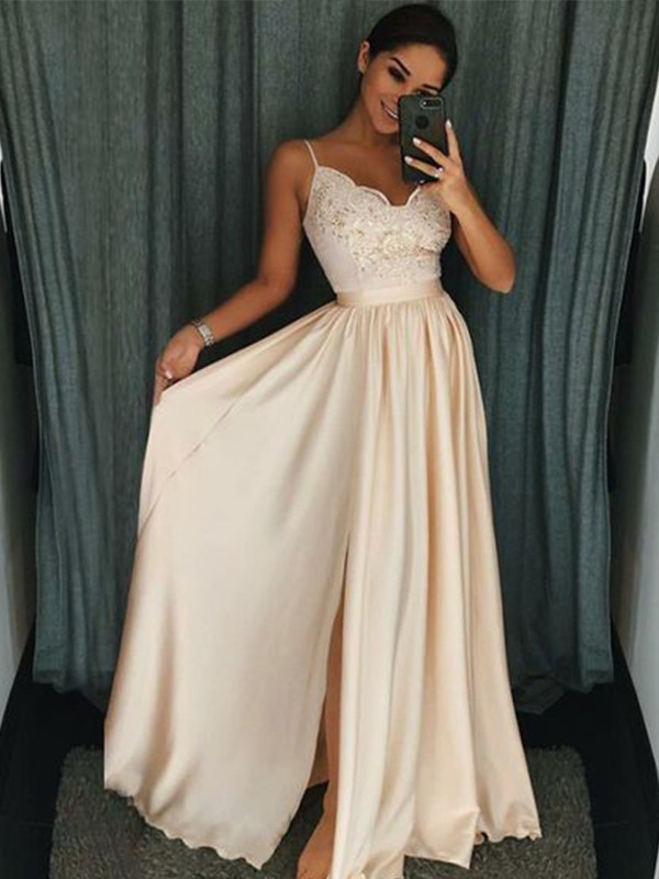 A-Line/Princess Spaghetti Straps Sleeveless Applique Floor-Length Silk like Satin Dresses