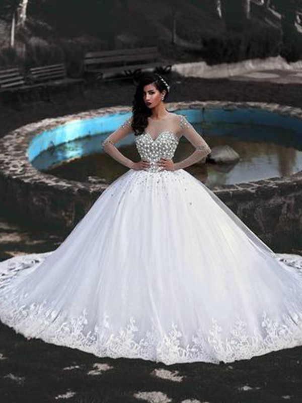 Ball Gown Tulle Beading Scoop Long Sleeves Sweep/Brush Train Wedding Dresses