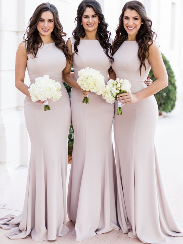 Sheath/Column Sleeveless Sheer Neck Sweep/Brush Train Spandex Bridesmaid Dresses