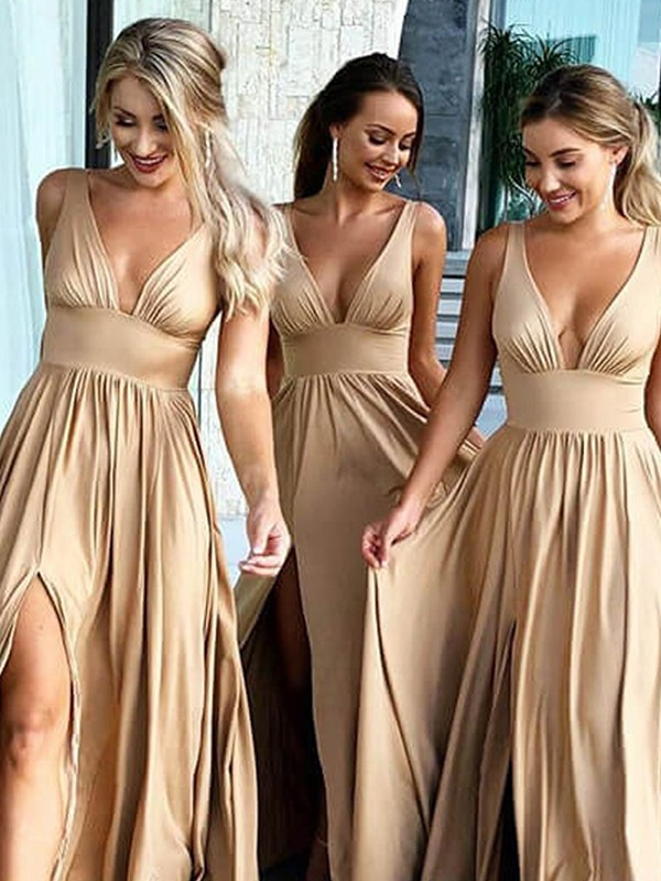 A-Line/Princess Sleeveless V-neck Sweep/Brush Train Ruffles Spandex Bridesmaid Dresses